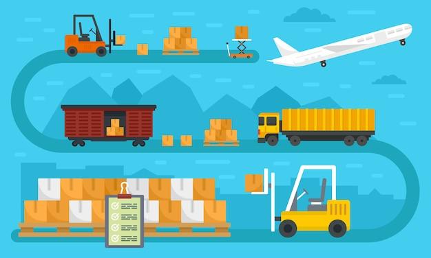 Bannière mondiale d'exportation de biens