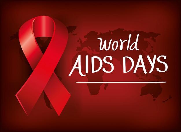 Bannière mondiale journée du sida avec ruban et carte