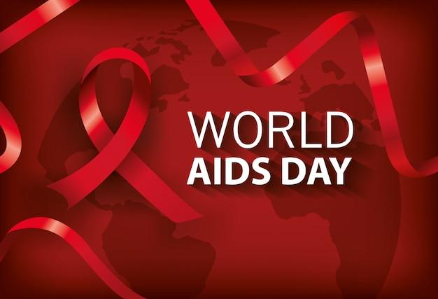 Bannière mondiale journée du sida avec ruban