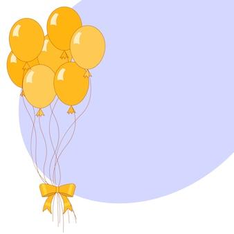 Bannière avec montgolfières de vacances jaune et fond bleu.