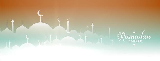 Bannière de la mosquée ramadan kareem
