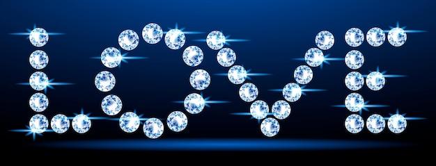 Bannière avec un mot étincelant amour fait de diamants.