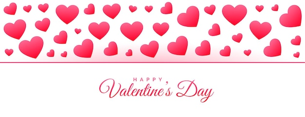 Bannière de motif coeurs heureux saint valentin