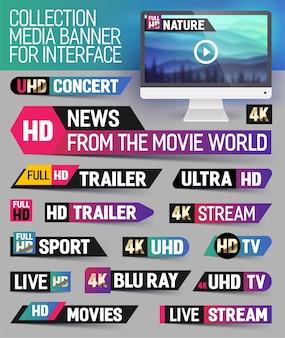 Bannière multimédia de collection pour l'interface
