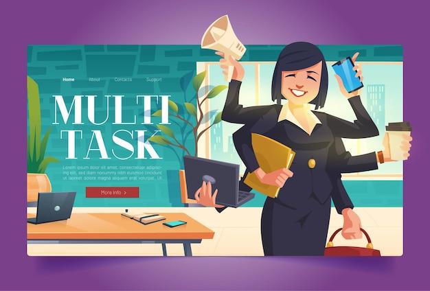 Bannière multitâche avec femme d'affaires avec de nombreux bras