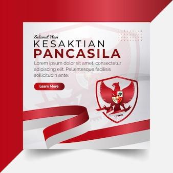 Bannière nationale de la journée pancasila indonésienne avec fond rouge et blanc