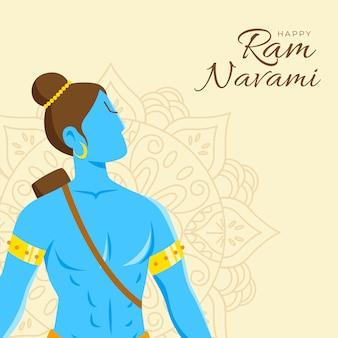 Bannière de navami ram avec caractère hindou