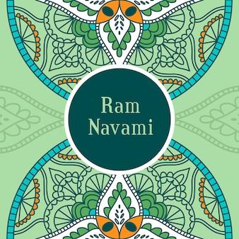 Bannière de navami ram dessiné à la main