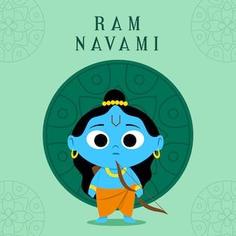 Bannière de navami ram avec dieu enfant