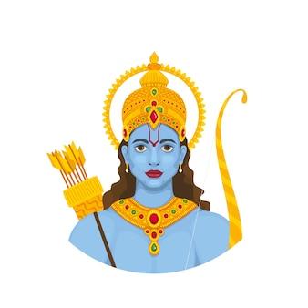 Bannière de navami ram avec dieu hindou