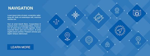 Bannière de navigation 10 icônes concept.location, carte, gps, icônes simples de direction