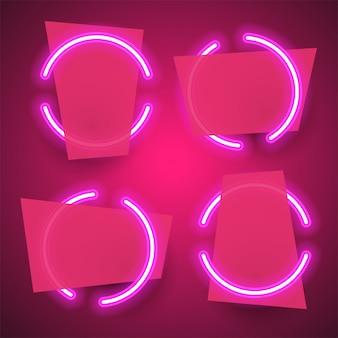 Bannière de néon abstrait rose.