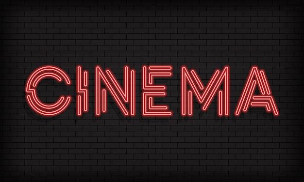 Bannière néon de cinéma. industrie cinématographique. vecteur sur fond blanc isolé. eps 10.