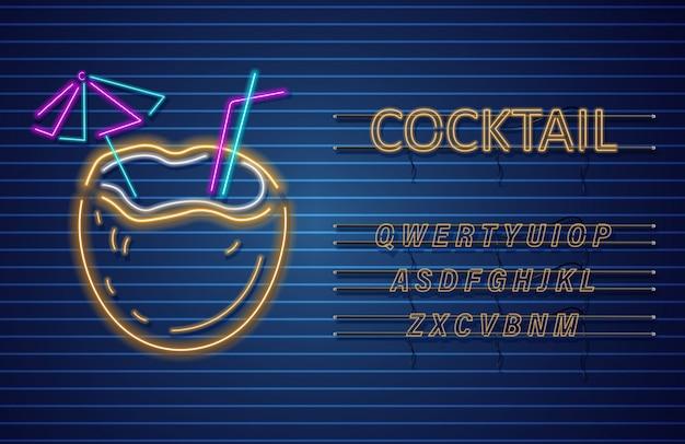 Bannière de néon cocktail de noix de coco