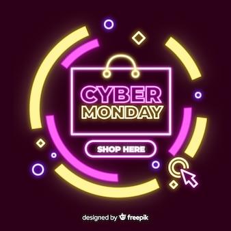 Bannière de néon cyber lundi vente