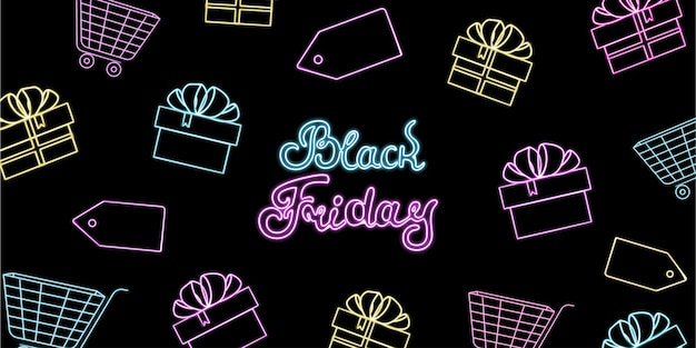 Bannière néon à la vente du black friday avec coffrets cadeaux et caddies.