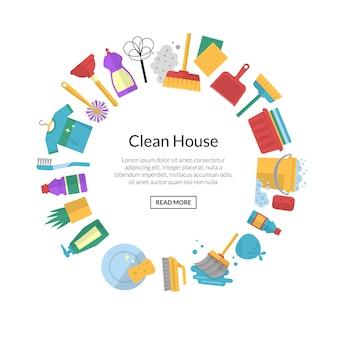 Bannière de nettoyage avec des icônes en cercle