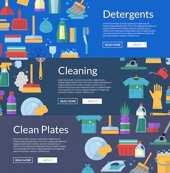 Bannière de nettoyage icônes plat
