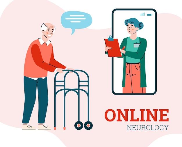 Bannière de neurologie en ligne avec illustration plate de neurologue et patient