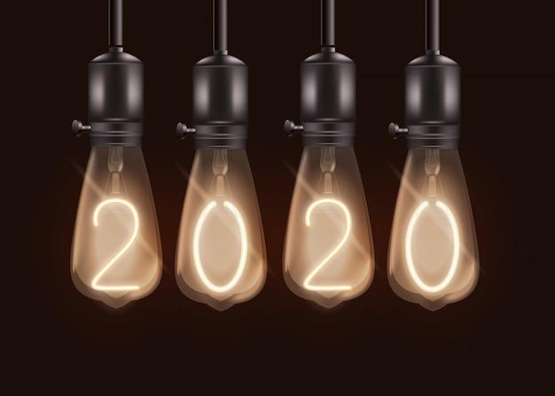 Bannière de noël avec des ampoules et des numéros