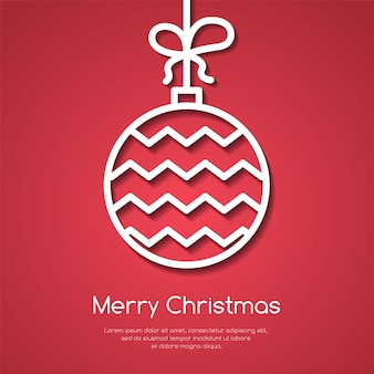 Bannière de noël et du nouvel an avec boule d'arbre décoratif de ligne avec ornement sur fond rouge