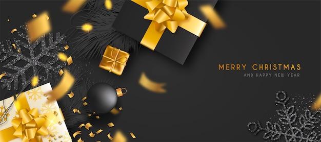 Bannière de noël élégante avec des cadeaux en or