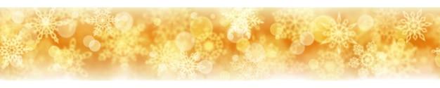 Bannière de noël de flocons de neige flous sur fond jaune