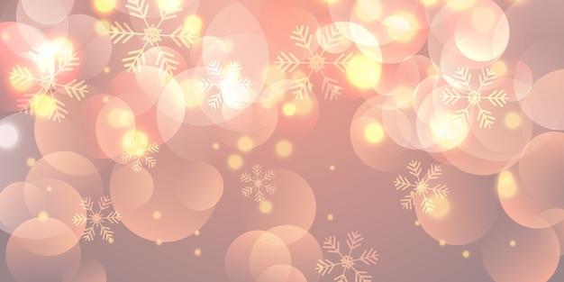 Bannière de noël avec des flocons de neige et des lumières de bokeh