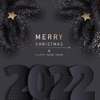 Bannière de noël glamour avec des branches noires de sapin joyeux noël et bonne année bannière 2022
