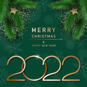 Bannière de noël glamour avec des branches de sapin joyeux noël et bonne année bannière 2022