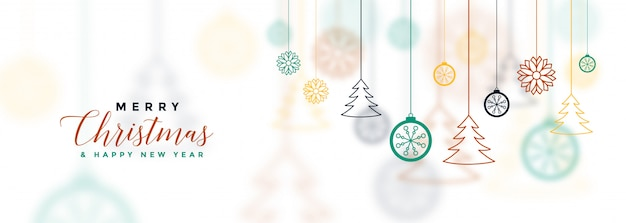 Bannière de noël joyeux blanc avec décoratif