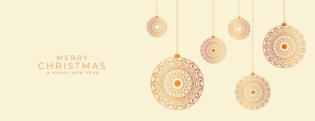 Bannière de noël joyeux avec des boules décoratives