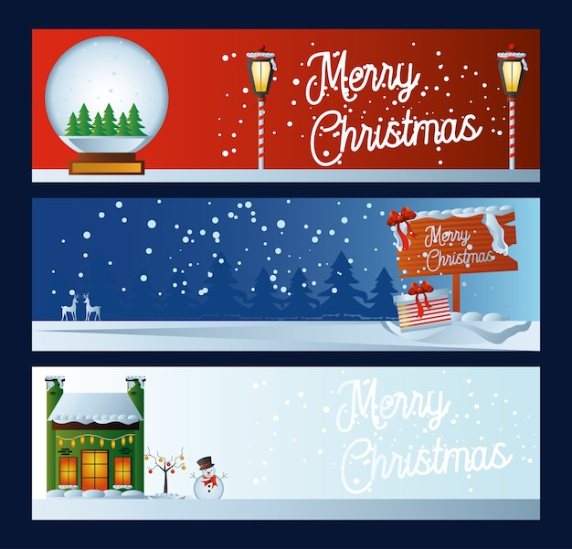 Bannière de noël joyeux avec lettrage de boule de neige et illustration d'hiver de maison