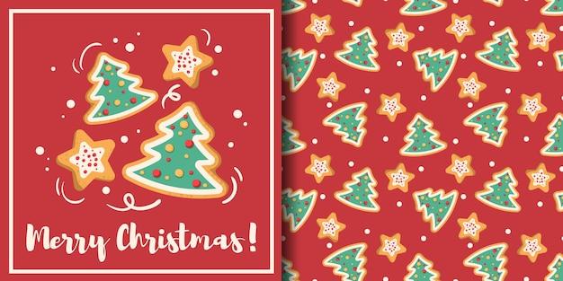 Bannière de noël et modèle sans couture d'arbre de noël et de biscuits en forme d'étoile sur fond rouge