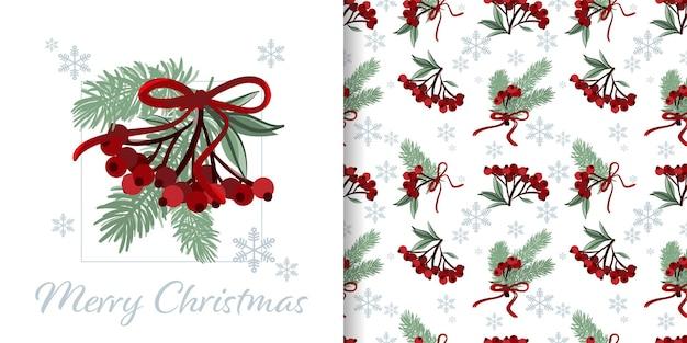 Bannière de noël et motif harmonieux de branches de baies de houx et de sapin avec ruban et flocons de neige