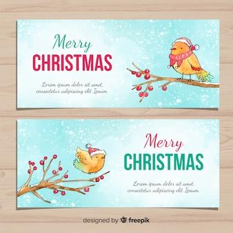 Bannière de noël avec des oiseaux aquarelles