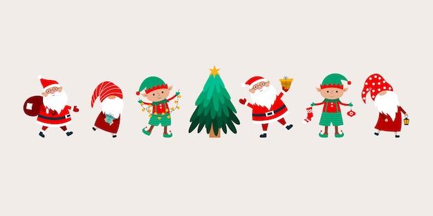 Bannière de noël avec le père noël, les gnomes, l'arbre de noël, les elfes