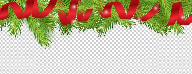 Bannière de noël. ruban rouge, fond de branches d'arbre de noël. frontière de vacances