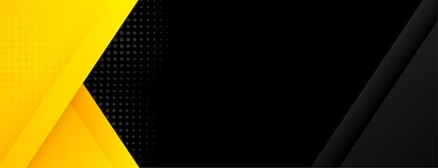 Bannière noire avec des formes géométriques jaunes