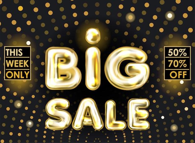 Bannière noire grande vente avec lettrage de ballon feuille d'or