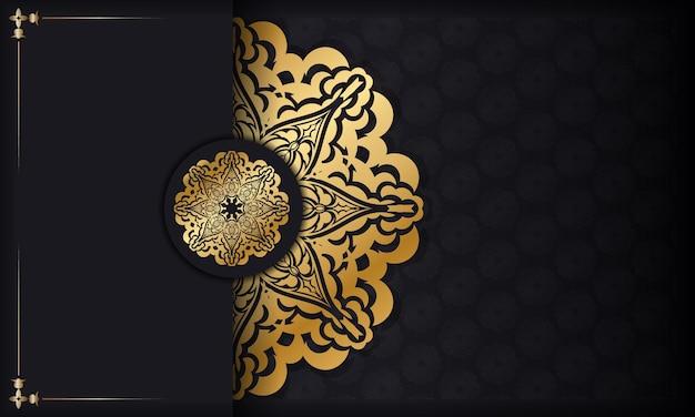 Bannière noire avec motif doré luxueux et espace texte
