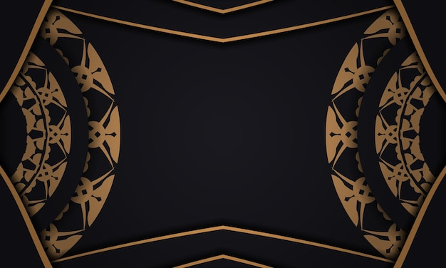 Bannière noire avec motif marron vintage et placez-la sous votre texte