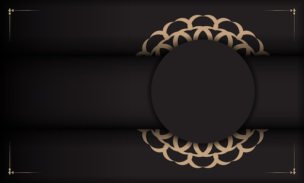 Bannière noire avec ornements luxueux et place pour votre texte. conception de carte postale prête à imprimer avec des motifs vintage.