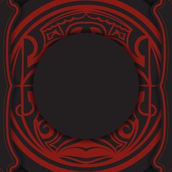 Bannière noire avec ornements polynésiens et place pour votre logo. modèle d'arrière-plan de conception d'impression avec des motifs luxueux.