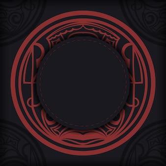 Bannière noire avec ornements polynésiens et place pour votre logo. modèle d'arrière-plan de conception d'impression avec des motifs.