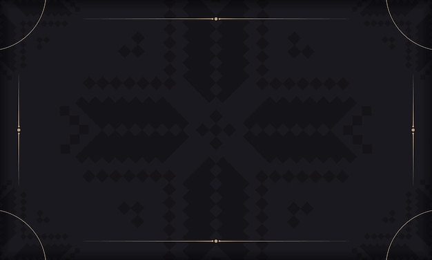 Bannière noire avec ornements slovènes et place pour votre logo. modèle pour la conception d'impression de cartes postales avec des motifs luxueux.