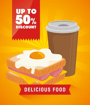 Bannière de la nourriture délicieuse avec une réduction de cinquante pour cent