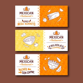 Bannière de nourriture mexicaine méga burritos épicés