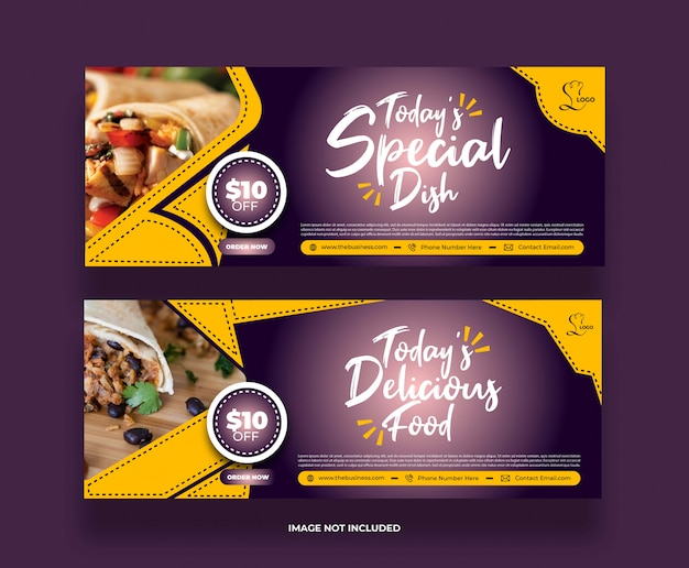 Bannière de nourriture plat spécial moderne créatif coloré pour les médias sociaux
