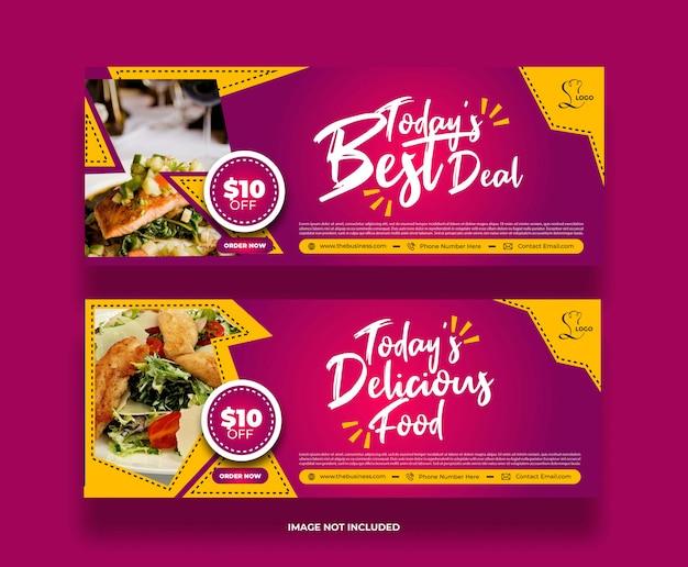 Bannière de nourriture de restaurant minimaliste moderne et créative pour les médias sociaux